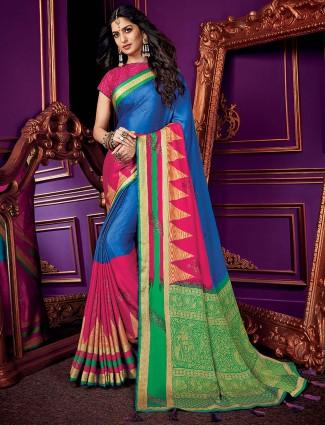 Blue and magenta half and half saree in semi silk