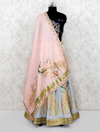 Blue and navy color silk wedding semi stitched lehenga choli