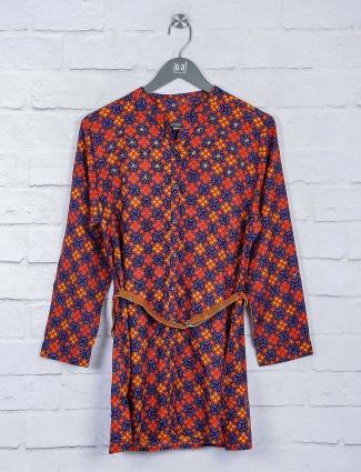 Blue and orange hued printed long top