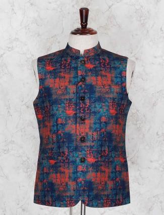 Blue and orange printed festive waistcoat