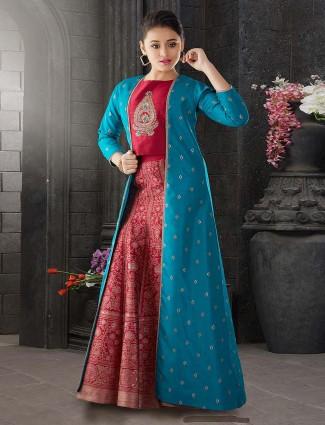 Blue and red pretty lehenga choli in raw silk