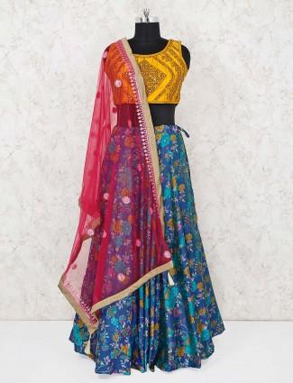 Blue and yellow cotton silk festive wear lehenga choli