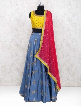 Blue and yellow raw silk lehenga choli