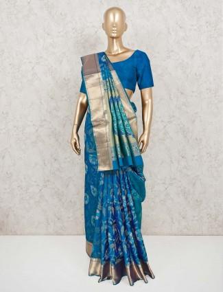 Blue banarasi pure silk saree