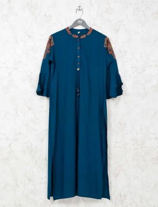 Blue casual cotton tunic