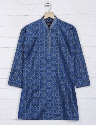 Blue chinese neck cotto kurta suit