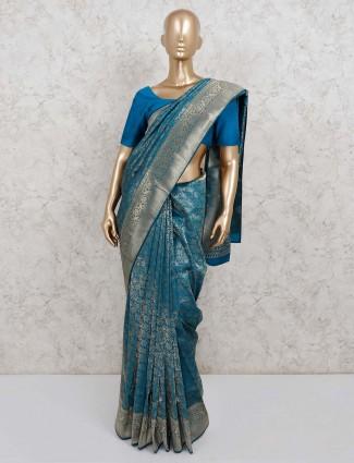 Blue classic saree in semi silk