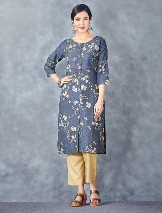 Blue color cotton fabric printed kurti set