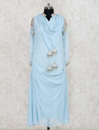 Blue color cotton silk cowl style designer salwar suit
