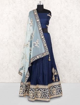 Blue color cotton silk festive semi stitched lehenga choli