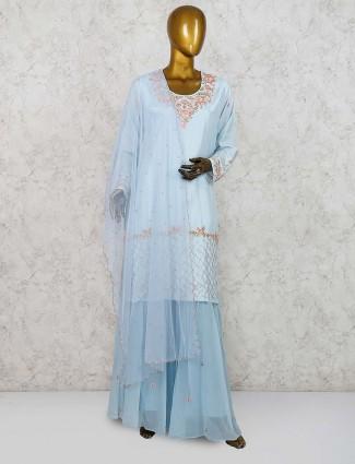 Blue color cotton silk punjabi sharara suit