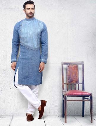 Blue color cotton slim fit solid kurta suit