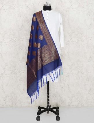 蓝色优雅真丝织物dupatta