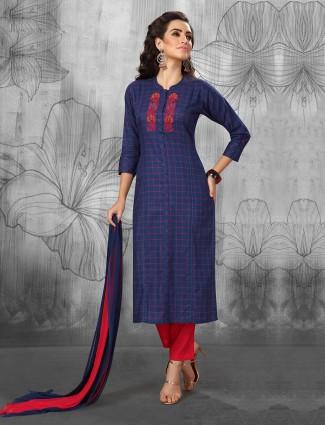 Blue color festive cotton punjabi salwar suit