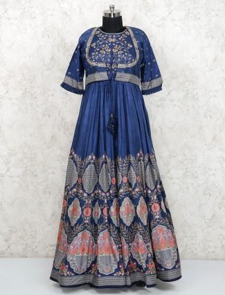 Blue color festive cotton silk jacket style floor length anarkali salwar suit
