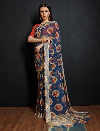 Blue color georgette festive saree