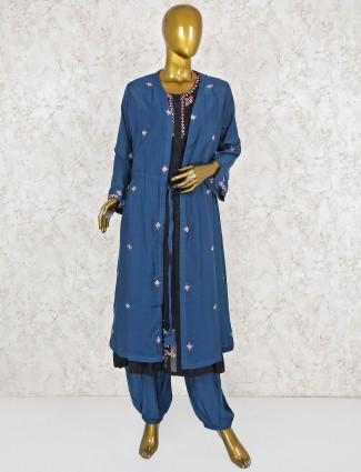 Blue color jacket style punjabi salwar suit
