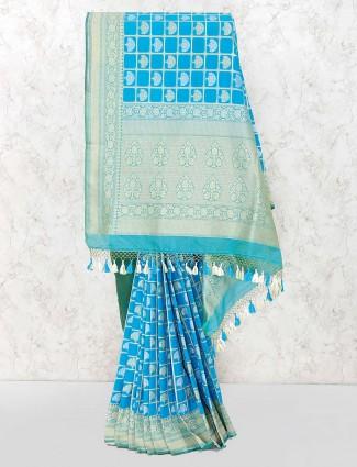 Blue color lovely banarasi semi silk saree