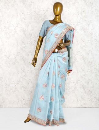 Blue color muga silk saree