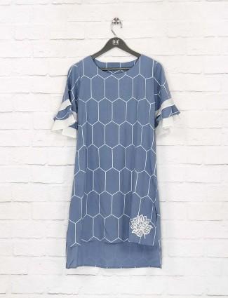 Blue color pretty cotton casual top