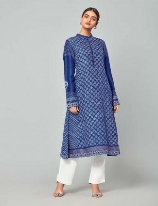 Blue color punjabi salwar suit in chanderi silk