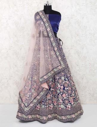 Blue color raw silk fabric bridal lehenga choli