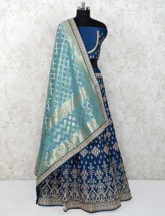 Blue color raw silk semi stitched lehenga choli