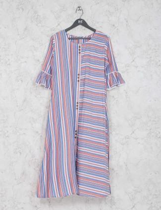 Blue color round neck cotton fabric kurti