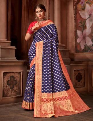 Blue color saree in silk fabric
