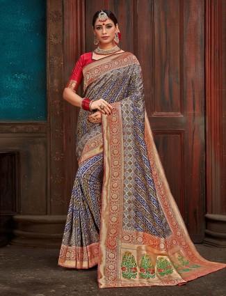 Blue color silk bandhani print saree
