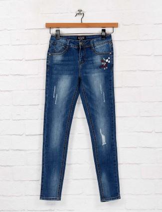 Blue color washed denim slim fit jeans