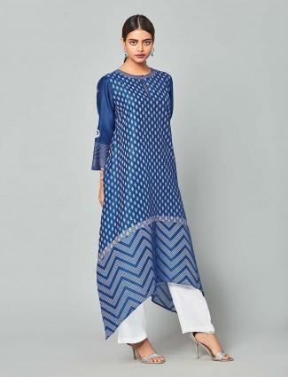 Blue colored chanderi silk punjabi salwar suit
