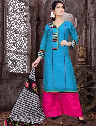 Blue colored festive wear palazzo suit