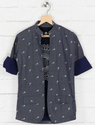 Blue colored printed cotton blazer