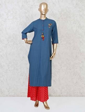 Blue cotton casual punjabi palazzo suit