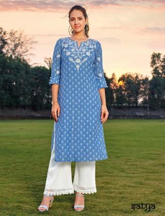 Blue cotton kurti in casual wear
