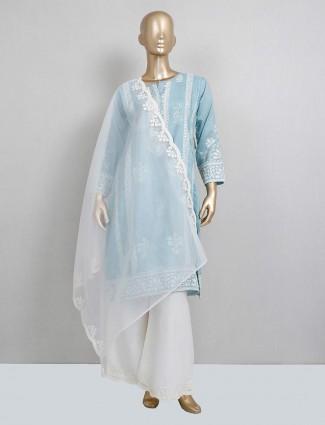Blue cotton palazzo salwar kameez