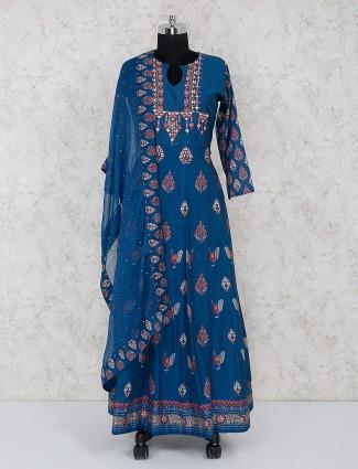 Blue cotton printed anarkali suit