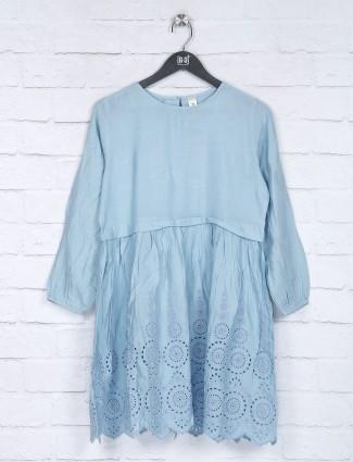 Blue cotton quarter sleeves top