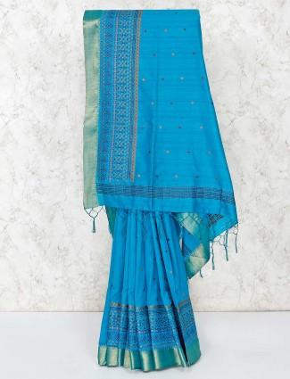 Blue cotton saree with unstitched blouse piece