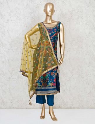 Blue cotton silk designer punjabi pant suit