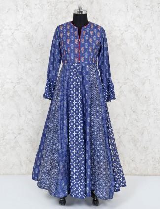 Blue cotton silk festive anarkali salwar kameez