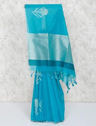 Blue cotton silk festive saree