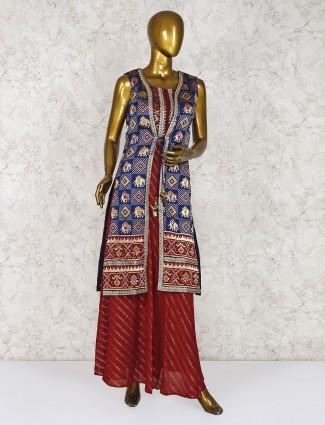 Blue cotton silk jacket style printed salwar suit