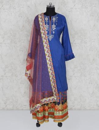 Blue cotton silk lehenga suit
