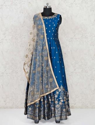 Blue cotton silk party wear floor length anarkali suit