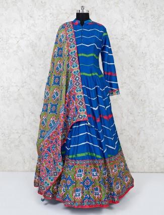 Blue cotton silk stripe anarkali suit