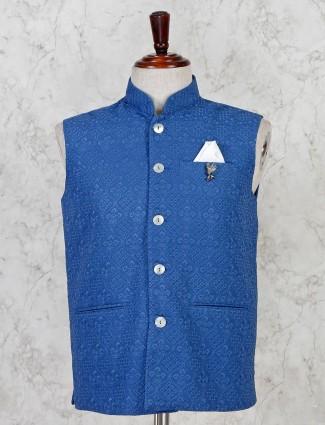 Blue cotton stand collar waistcoat