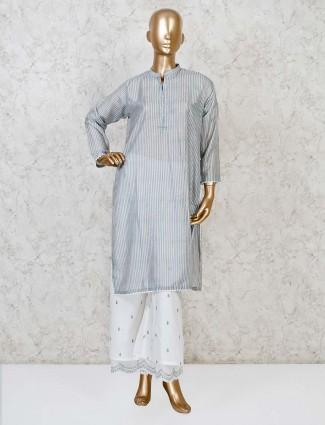 Blue cotton stripe punjabi palazzo set