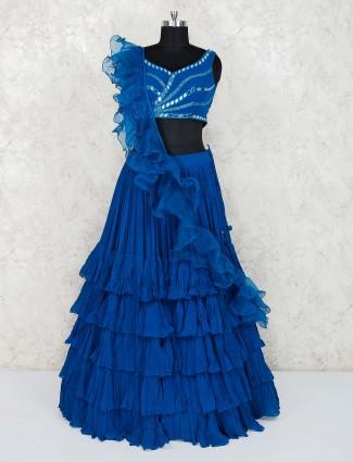 Blue designer georgette lehenga choli